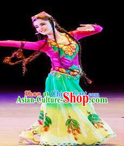 Chinese Ethnic Minority Folk Dance Embroidered Dress Traditional Uyghur Nationality Costumes for Women