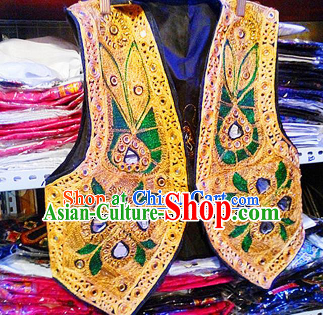 Chinese Ethnic Minority Folk Dance Embroidered Golden Vest Traditional Uyghur Nationality Costume for Women