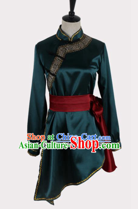 Chinese Ethnic Minority Embroidered Atrovirens Blouse Traditional Mongols Nationality Folk Dance Costume for Women