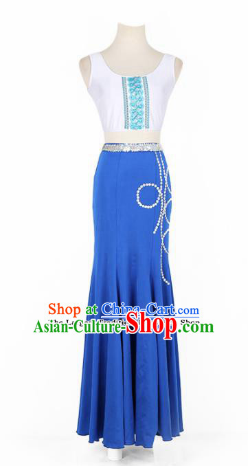Chinese Ethnic Minority Dress Traditional Dai Nationality Folk Dance Costume for Women