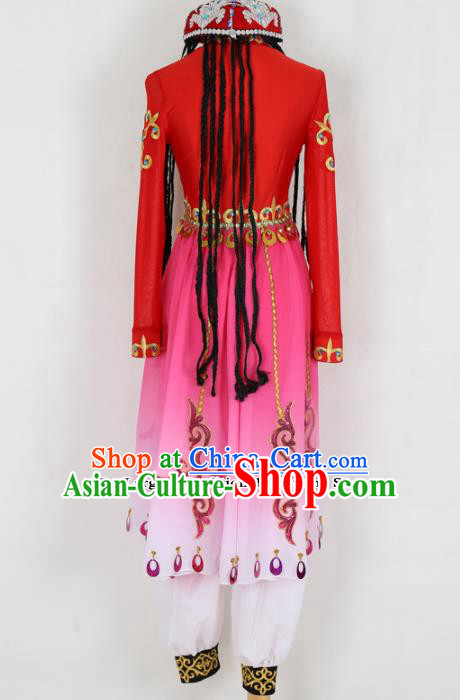 Chinese Uigurian Ethnic Minority Red Dress Traditional Uyghur Nationality Folk Dance Costume for Women
