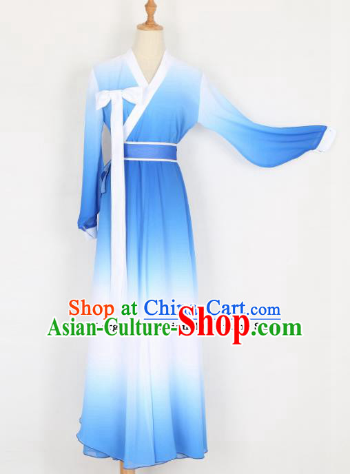 Chinese Traditional Folk Dance Blue Dress Classical Dance Costume for Women
