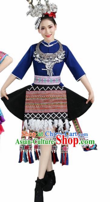 Chinese Hmong Ethnic Minority Royalblue Dress Traditional Miao Nationality Folk Dance Costumes for Women