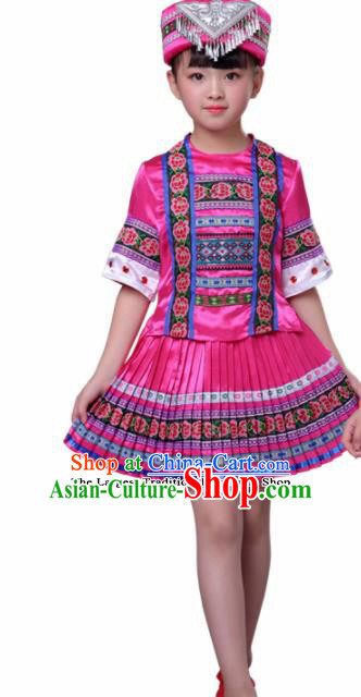 Chinese Traditional Yao Nationality Folk Dance Pink Dress Ethnic Dance Costumes for Kids