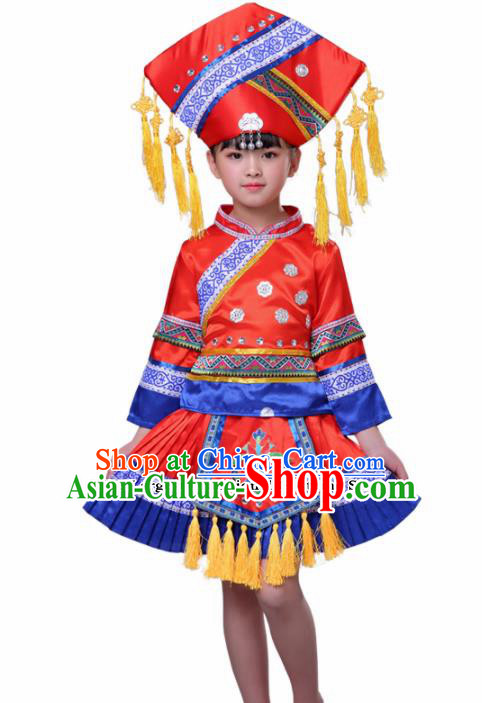 Chinese Traditional Zhuang Nationality Folk Dance Red Dress Ethnic Dance Costumes for Kids