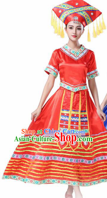 Chinese Ethnic Minority Red Dress Traditional Zhuang Nationality Folk Dance Costumes for Women