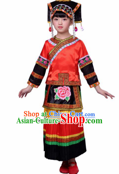 Chinese Traditional Yi Nationality Folk Dance Red Dress Ethnic Dance Costumes for Kids