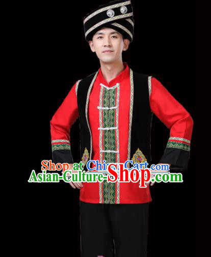 Chinese Traditional Miao Nationality Folk Dance Clothing Ethnic Dance Embroidered Red Costumes for Men