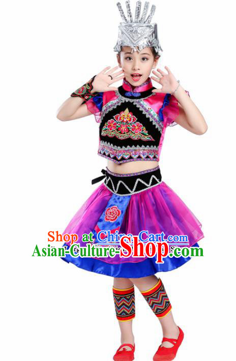 Chinese Traditional Li Minority Folk Dance Dress Ethnic Dance Costumes for Kids