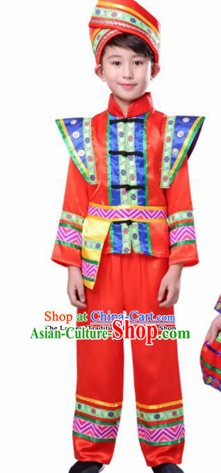 Chinese Traditional Zhuang Minority Boy Folk Dance Clothing Ethnic Dance Red Costumes for Kids