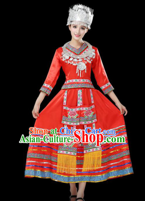 Chinese Hmong Ethnic Minority Red Dress Traditional Miao Nationality Folk Dance Costumes for Women