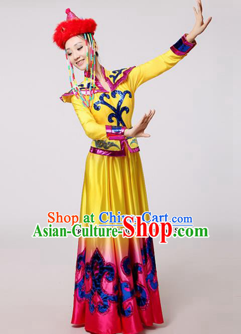 Chinese Traditional Mongolian Minority Folk Dance Yellow Dress Mongols Ethnic Dance Costumes for Women
