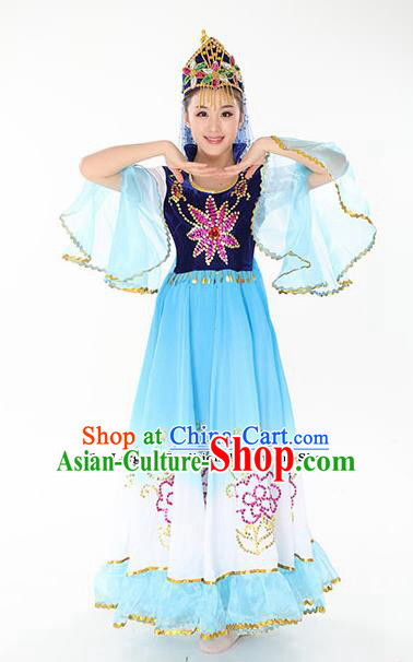 Chinese Traditional Uyghur Minority Blue Dress Uigurian Ethnic Folk Dance Costumes for Women