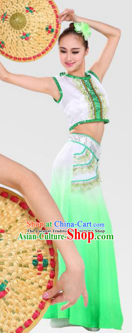 Chinese Traditional Dai Minority Green Dress Ethnic Folk Dance Costumes for Women