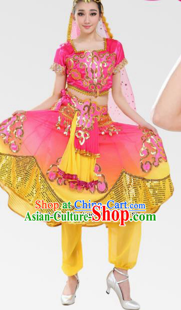 Chinese Traditional Uyghur Minority Pink Dress Uigurian Ethnic Folk Dance Costumes for Women