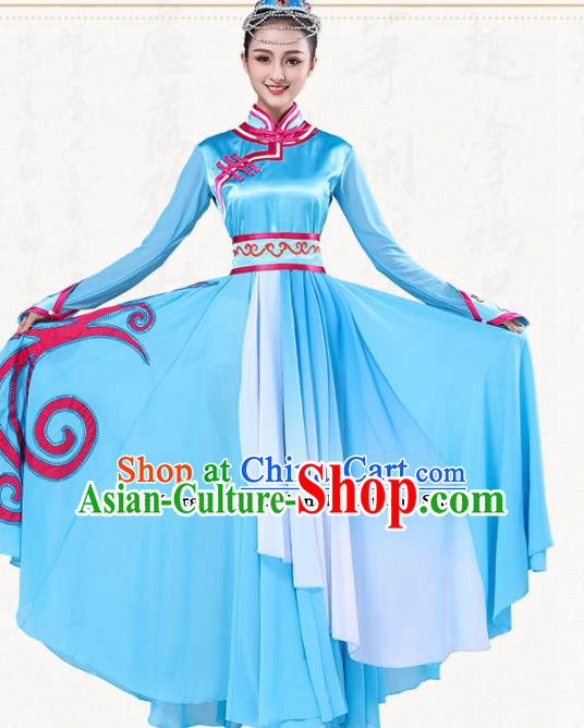 Chinese Traditional Mongol Minority Blue Dress Ethnic Folk Dance Mongolian Costumes for Women