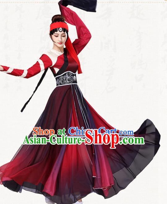 Chinese Traditional Group Dance Red Dress Classical Dance Umbrella Dance Costumes for Women