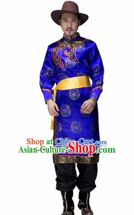 Chinese Traditional Mongolian Minority Folk Dance Clothing Mongols Ethnic Dance Blue Robe for Men