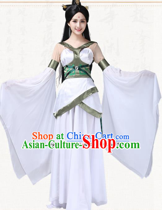 Chinese Traditional Classical Dance White Dress Ancient Peri Umbrella Dance Group Dance Costumes for Women