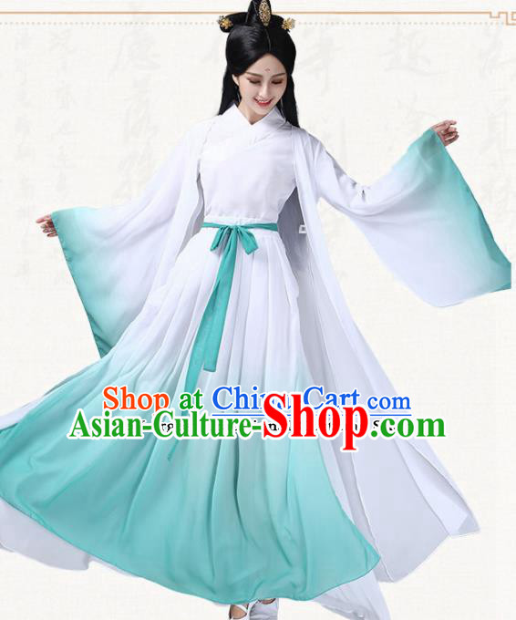Chinese Traditional Classical Dance Blue Dress Ancient Peri Umbrella Dance Group Dance Costumes for Women