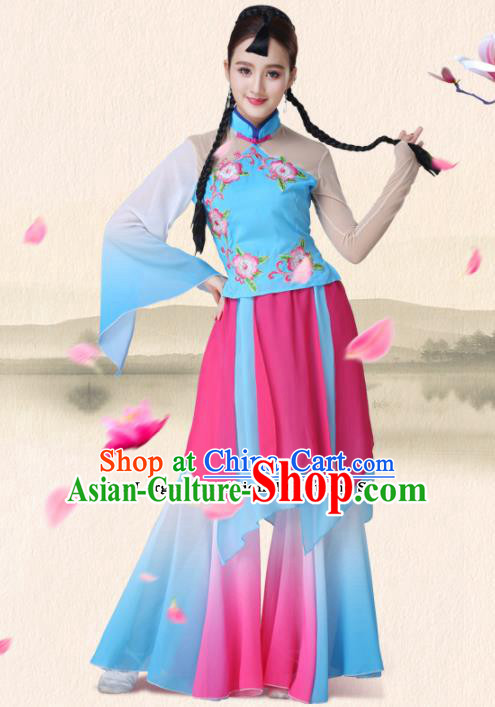 Chinese Traditional Classical Dance Group Dance Blue Dress Folk Dance Umbrella Dance Costumes for Women