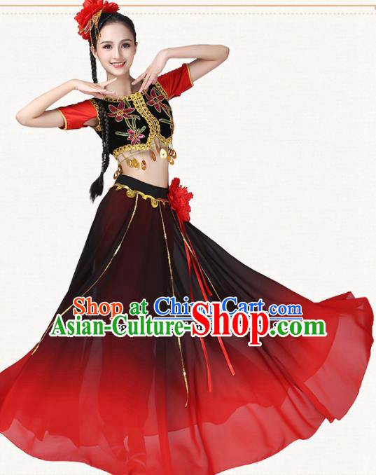 Chinese Traditional Uyghur Minority Dance Red Dress Uigurian Ethnic Folk Dance Costumes for Women