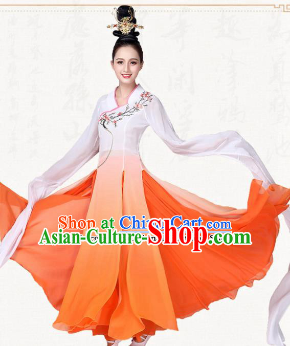 Chinese Traditional Classical Dance Orange Dress Fan Dance Group Dance Costumes for Women