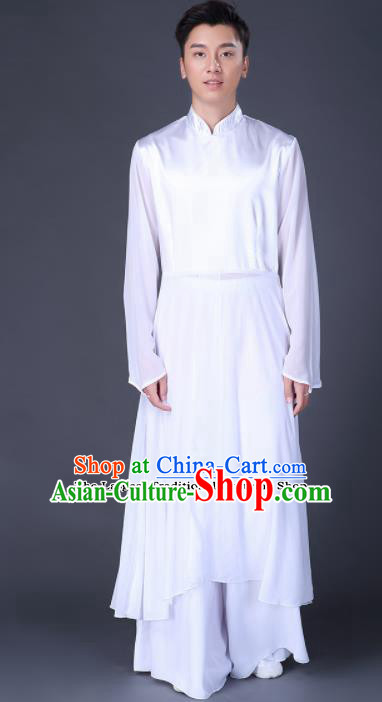 Chinese Traditional Folk Dance Clothing Classical Dance White Costumes for Men