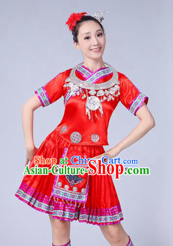 Chinese Ethnic Minority Red Short Dress Traditional Yi Nationality Folk Dance Costumes for Women