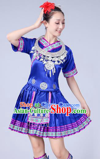 Chinese Ethnic Minority Royalblue Short Dress Traditional Yi Nationality Folk Dance Costumes for Women