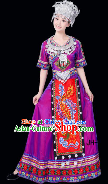 Chinese Ethnic Minority Purple Dress Traditional Miao Nationality Folk Dance Costumes for Women
