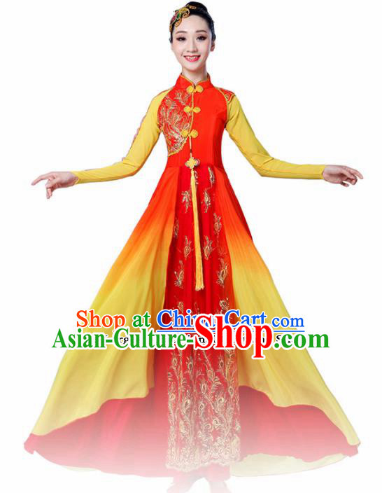 Chinese Traditional Folk Dance Red Dress Classical Dance Umbrella Dance Costumes for Women