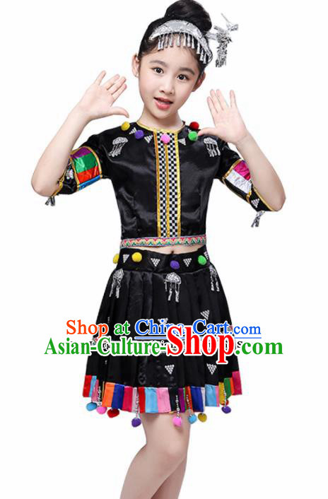 Chinese Traditional Dong Minority Folk Dance Clothing Ethnic Dance Black Dress for Kids