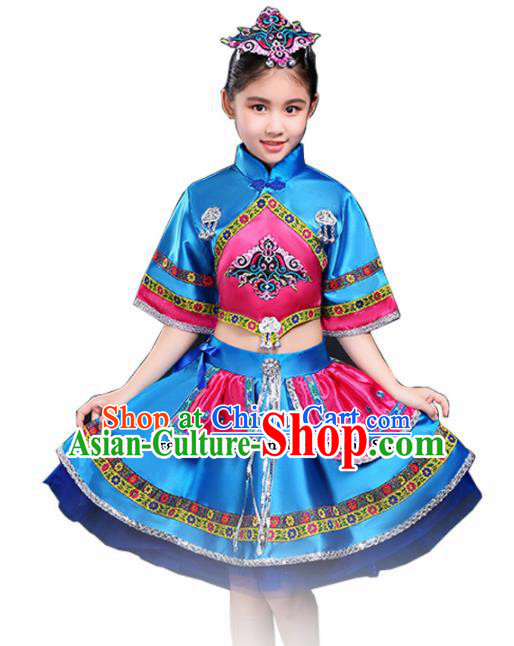 Chinese Traditional Miao Minority Folk Dance Clothing Ethnic Dance Blue Dress for Kids