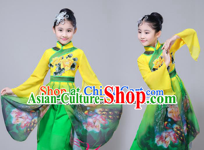 Chinese Traditional Folk Dance Green Dress Classical Dance Umbrella Dance Costumes for Kids