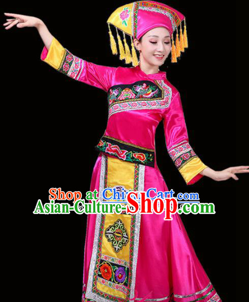 Chinese Yi Ethnic Minority Embroidered Rosy Dress Traditional Nationality Folk Dance Costumes for Women
