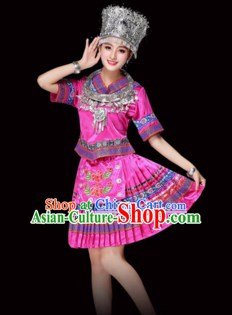 Chinese Miao Ethnic Minority Embroidered Rosy Short Dress Traditional Hmong Nationality Folk Dance Costumes for Women