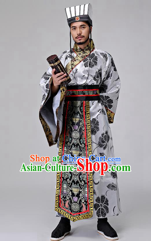 Traditional Chinese Han Dynasty Grand Councilor Costumes Ancient Drama Chancellor Clothing for Men