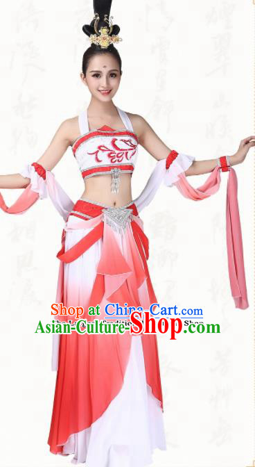 Chinese Traditional Classical Dance Dress Ancient Flying Peri Fan Dance Group Dance Costumes for Women