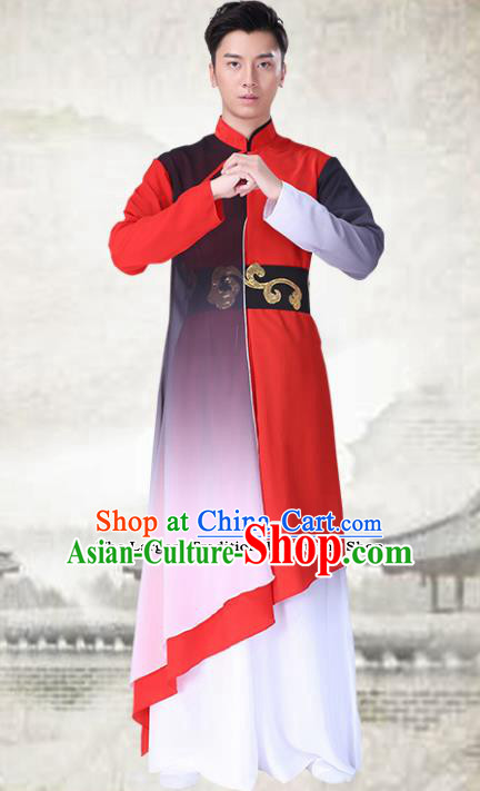 Chinese Traditional Folk Dance Red Clothing Classical Dance Costumes for Men