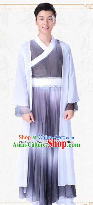 Chinese Traditional Folk Dance Grey Clothing Classical Dance Drum Dance Costumes for Men