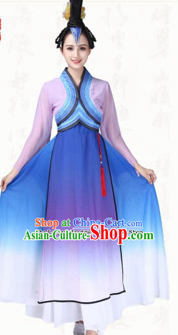 Chinese Traditional Classical Dance Fan Dance Blue Dress Group Dance Costumes for Women