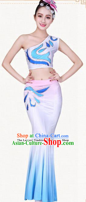Chinese Traditional Dai Nationality Pink Dress Ethnic Peacock Dance Folk Dance Costumes for Women