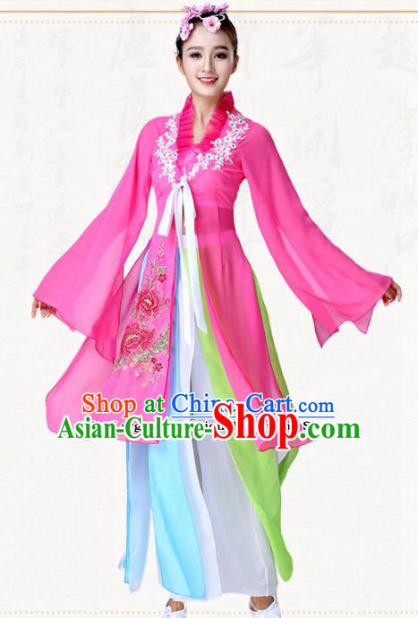Chinese Traditional Classical Dance Umbrella Dance Rosy Dress Group Dance Costumes for Women