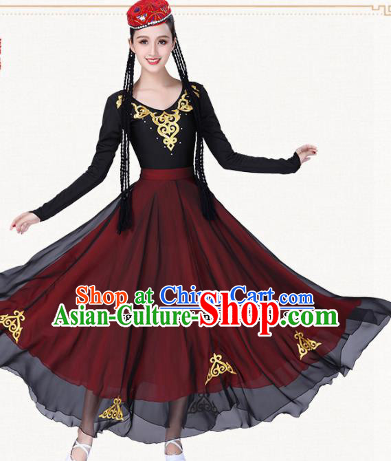 Chinese Traditional Uyghur Nationality Red Dress Uigurian Ethnic Folk Dance Costumes for Women