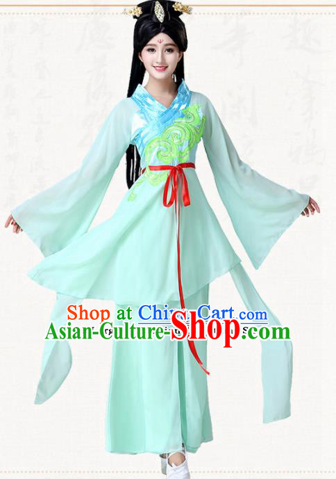 Chinese Traditional Classical Dance Green Dress Ancient Peri Goddess Group Dance Costumes for Women