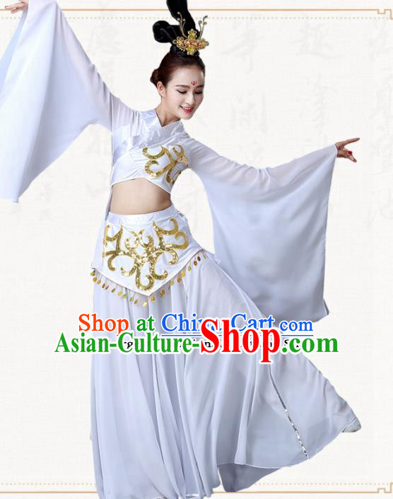 Traditional Chinese Classical Dance Umbrella Dance White Dress Group Dance Costumes for Women