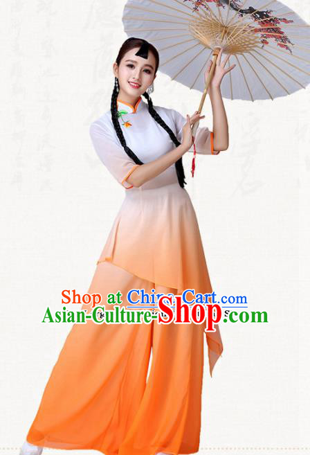 Traditional Chinese Classical Dance Umbrella Dance Orange Dress Group Dance Costumes for Women