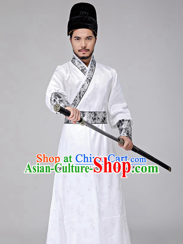 Traditional Chinese Three Kingdoms Period Swordsman White Costumes Ancient Drama Knight Clothing for Men