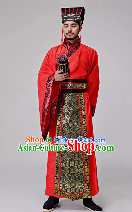 Traditional Chinese Three Kingdoms Period Minister Costumes Ancient Drama Chancellor Clothing for Men